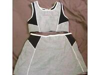 Ladies Two Piece Grey Exercise Bodynits Gym Set Short Skirt Original Size M