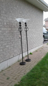 2 - Floor Lamps ( Torch Style ) Comes With Bulbs