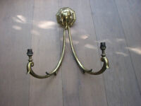 Vintage and magnificent and imposing brass art deco light fixture