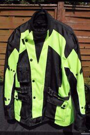 Australian Bikers Gear UK Motorcycle Infinity Hi Viz Waterproof Jacket Armour & Vented