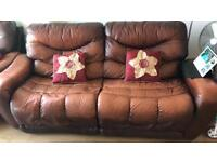 Leather brown Sofa (Negotiable)