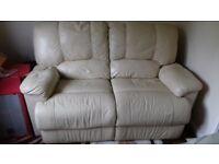 2 seater Cream leather full recliner sofa
