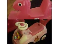 Princess ride on and little tikes rocker