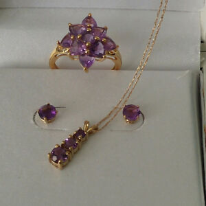 Amethyst Set 10K Gold