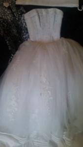 Size 8   2 piece white wedding dress
