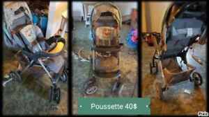 Vetements new-born, chaise vibrante, poubelle, poussette