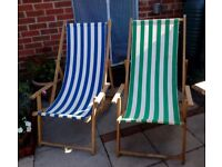Pair of Retro Deck chairs with arms.
