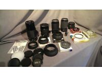 Camera kit Olympus OM10 / Yashica FX-D , lenses, lamps, filters plus two bags