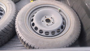 Set of 4 VW steel wheels and great  winter tires