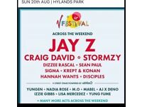 X2 V Fest tickets Sunday JAY Z headline day tickets only no camping Chelmsford Hylands park