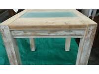 Solid heavy oak lamp / side table