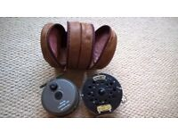 Rimley Cartridge 355 reel, Andy Shaw Olympic 440 reel and leather pouch