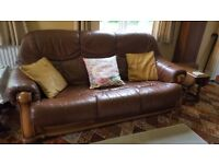 Brown leather sofas- three piece suite