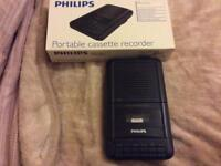 As new Philips portable cassette recorder