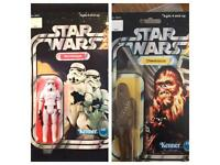 Star Wars 1977 Vintage Stormtrooper and Chewbacca Sealed Unpunched