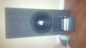 """12"""" jl audio w0 with box and kenwood amp"""