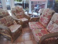 Conservatory suite 2 seater sofa and 2 chairs and table collectec