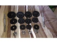 2 x Adjustable Metal Dumbbells for sale