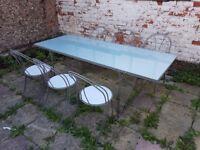 Big 2m long glass garden table + 6 chairs