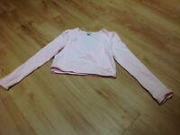 Girls Age 9 /10 Ballet pink leotard and cardigan