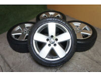 "Genuine VW Passat 17"" Monte Carlo Alloy wheels & Tyres 5x112 Eos Golf MK5 MK6 Caddy Audi Alloys"