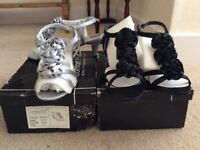 2 pair of ladies size 4 evening shoes New. 1 silver 1 Black Boxed.