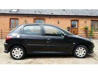Black Peugeot 206 1.4 LOOK (2007) 2 careful lady owners, 12 Months MOT, 62000 miles. £1199