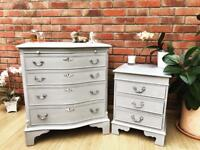 Vintage Chest Of Drawers and Bedside Table set