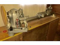 MULTI SPEED MYFORD M8A WOODTURNING LATHE WITH WOODEN STAND AND 1425 RPM MOTOR.