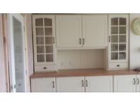 Cream wall & base unit Burberry foil rapped. kitchen doors + accessories