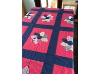 Handmade Heirloom Quilt – Pink and Blue Floral - reduced to £15! One of only two quilts left!