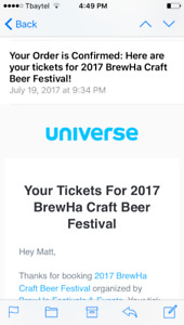 2 tickets to Brew Ha Saturday evening session