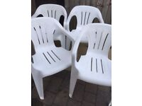 4x White Plastic Stacking Garden Chairs- Only £10- the lot