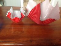 Red and white decorative bowls