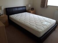 4ft Bed Brown Leather frame and headboard.