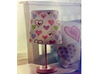 Brand new childrens pink love heart patterned bedside lamp now reduced to £4.50