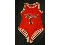 New Beyonce Chicago Bulls Swimsuit Red Leotard Bathing Suit Spandex Nylon Feeling Feelin Myself Zara