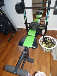 Bench, weights and other exercise equipment