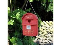 Novelty Red Letter Post Box Bird House Hatching & Nesting for Small Garden Birds