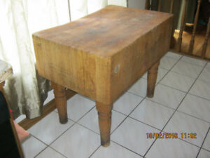 antique maple butcher table, price reduced, must sell