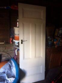 2 x Victorian timber panelled doors 755 x 2110 x 35mm; original hinges; modern brass handles