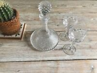 Wine decanter and 2 matching glasses