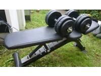 Gym bench whit dumbbells