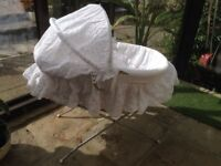 Wicker Baby Crib and Stand