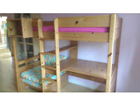 Stompa high sleeper bed and mattress with integral desk and sofa/pull out bed and shelf