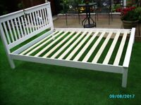 King size bed Solid Pine in White wooden slats 6mths old hence good as new,Meassure w162 L215.5 H102