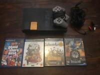 PS2 + 4 games + controller + memory card