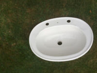 White Inset cloakroom washbasin