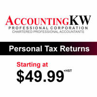 Personal Tax Returns Starting at $49.99+HST*
