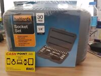 "Halford 30 Piece Socket Set 1/4"" BRAND NEW & SEALED"